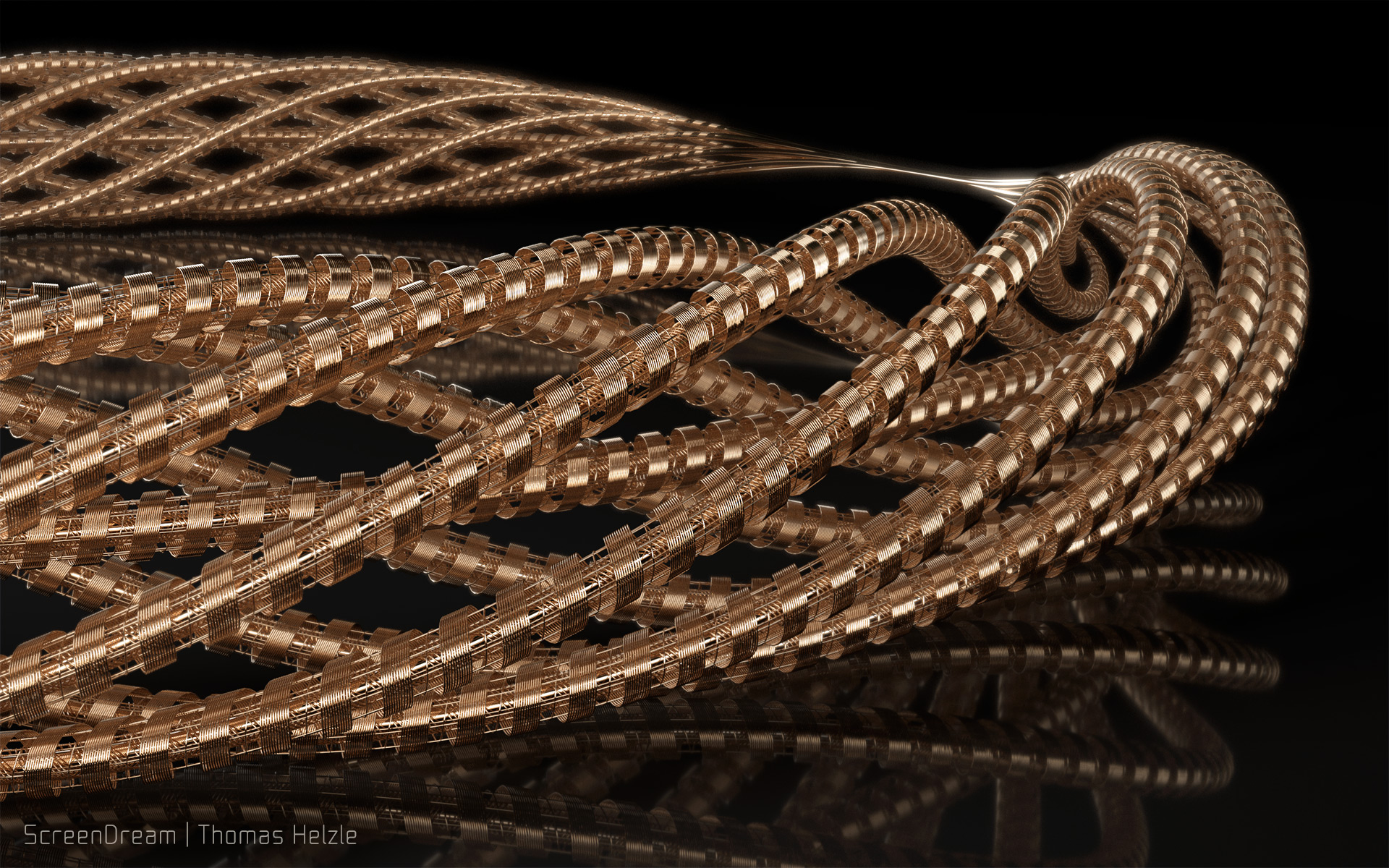 A series of images of wound wires, created in SideFX Houdini